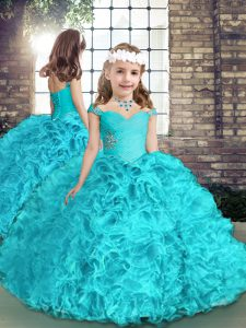 Elegant Aqua Blue Sleeveless Organza Lace Up Kids Formal Wear for Party and Wedding Party