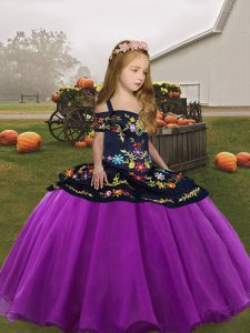 Discount Purple Ball Gowns Organza Straps Sleeveless Embroidery Floor Length Lace Up Girls Pageant Dresses