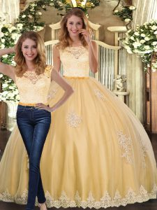 Glamorous Gold Clasp Handle Scoop Lace and Appliques 15th Birthday Dress Tulle Sleeveless