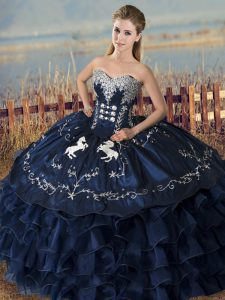 Excellent Floor Length Navy Blue Sweet 16 Quinceanera Dress Sweetheart Sleeveless Lace Up