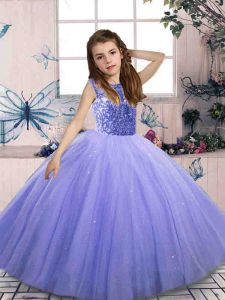 Sleeveless Lace Up Floor Length Beading Little Girls Pageant Gowns