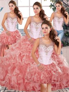 Charming Organza Sleeveless Floor Length Sweet 16 Dress and Beading and Ruffles
