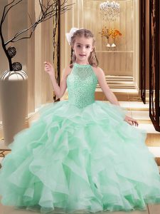 Beauteous Apple Green Sleeveless Beading and Ruffles Floor Length Pageant Gowns For Girls