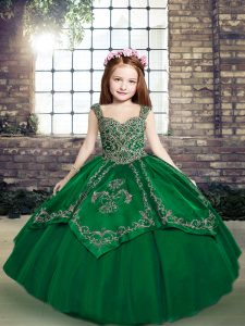 Nice Straps Sleeveless Lace Up Little Girl Pageant Dress Dark Green Tulle