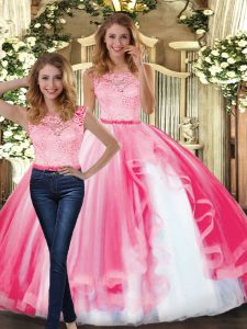Floor Length Hot Pink Ball Gown Prom Dress Scoop Sleeveless Clasp Handle