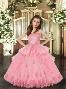 Baby Pink Ball Gowns Lace and Appliques Little Girls Pageant Gowns Lace Up Tulle Sleeveless Floor Length