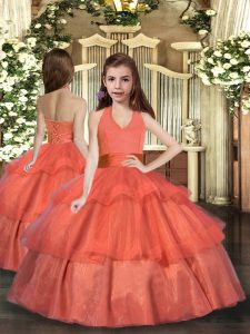 Sweet Orange Red Sleeveless Ruffled Layers Floor Length Pageant Dress for Girls