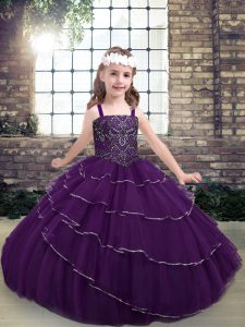 Great Eggplant Purple Lace Up Straps Beading and Ruffled Layers Little Girls Pageant Dress Wholesale Tulle Sleeveless