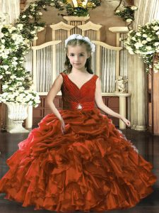 Classical Brown Organza Backless Little Girls Pageant Dress Sleeveless Floor Length Beading and Ruffles and Pick Ups