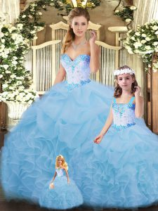 Sweetheart Sleeveless Quinceanera Gowns Floor Length Beading and Ruffles Blue Organza