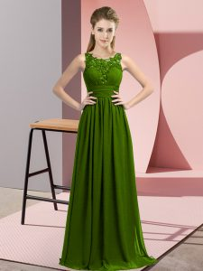 Attractive Olive Green Empire Scoop Sleeveless Chiffon Floor Length Zipper Beading and Appliques Dama Dress for Quinceanera