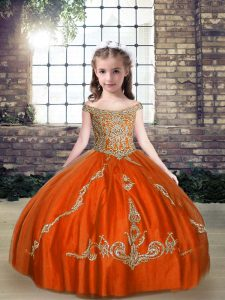 Wonderful Orange Red Little Girl Pageant Gowns Party and Wedding Party with Beading Off The Shoulder Sleeveless Lace Up