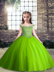 Sleeveless Tulle Floor Length Lace Up Pageant Gowns For Girls in Green with Beading