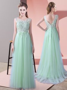 Apple Green Damas Dress Wedding Party with Beading and Lace Scoop Sleeveless Brush Train Zipper