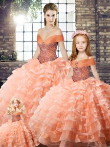 Peach Off The Shoulder Neckline Beading and Ruffled Layers Quinceanera Dresses Sleeveless Lace Up