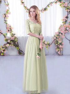 Yellow Green Tulle Side Zipper V-neck Half Sleeves Floor Length Dama Dress for Quinceanera Lace and Belt