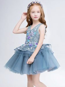 Sleeveless Tulle Mini Length Lace Up Little Girl Pageant Gowns in Grey with Lace and Appliques