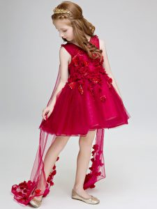 Ball Gowns Sleeveless Wine Red Little Girls Pageant Dress Wholesale Watteau Train Lace Up