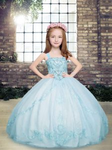 Sleeveless Floor Length Beading Lace Up Kids Formal Wear with Light Blue