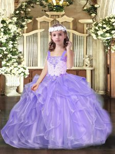 Sleeveless Floor Length Beading and Ruffles Lace Up Little Girl Pageant Gowns with Lavender