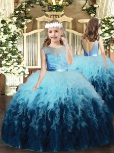Stylish Multi-color Tulle Backless Little Girls Pageant Dress Sleeveless Floor Length Ruffles