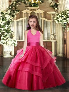 Super Hot Pink Ball Gowns Ruffled Layers Little Girls Pageant Gowns Lace Up Tulle Sleeveless Floor Length