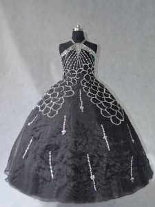 Floor Length Black Quinceanera Dresses Halter Top Sleeveless Lace Up