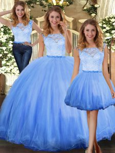 Blue Three Pieces Lace Vestidos de Quinceanera Clasp Handle Tulle Sleeveless Floor Length