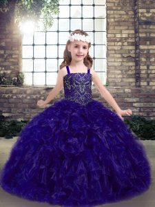Customized Purple Straps Neckline Beading and Ruffles Girls Pageant Dresses Sleeveless Lace Up