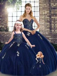 Affordable Navy Blue Sleeveless Beading and Appliques Floor Length Sweet 16 Quinceanera Dress