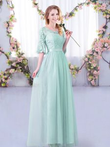Light Blue Tulle Side Zipper Court Dresses for Sweet 16 Half Sleeves Floor Length Lace and Belt