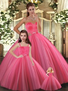 Coral Red Sweetheart Neckline Beading Vestidos de Quinceanera Sleeveless Lace Up