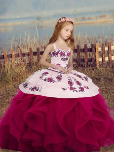 Fuchsia Mermaid Straps Sleeveless Embroidery and Ruffles Floor Length Lace Up Little Girls Pageant Gowns
