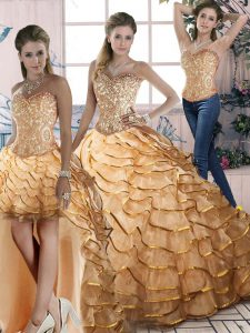 Gold Lace Up Halter Top Ruffled Layers Sweet 16 Dress Organza Sleeveless Brush Train