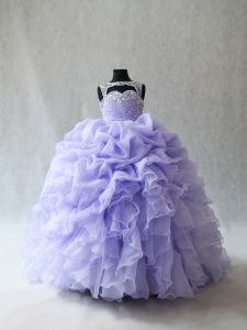 Attractive Lace Up Pageant Gowns For Girls Lavender for Wedding Party with Beading and Ruffles and Pick Ups Brush Train