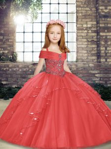 Charming Coral Red Sleeveless Floor Length Beading and Ruffles Lace Up Custom Made Pageant Dress