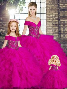 Tulle Off The Shoulder Sleeveless Lace Up Beading and Ruffles Quinceanera Gowns in Fuchsia