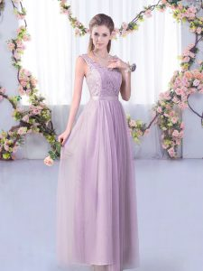 Exquisite V-neck Sleeveless Tulle Dama Dress Lace and Belt Side Zipper