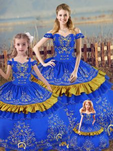 Low Price Blue Ball Gowns Embroidery Quinceanera Gown Lace Up Satin Sleeveless Floor Length
