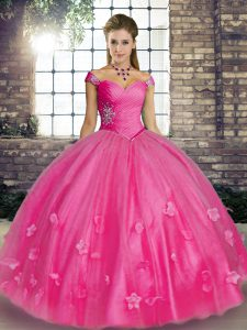 Fine Floor Length Lace Up Sweet 16 Dresses Hot Pink for Military Ball and Sweet 16 and Quinceanera with Beading and Appliques