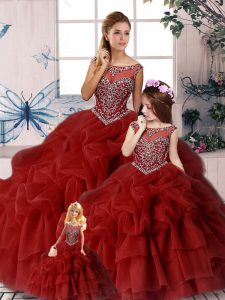 Pretty Sleeveless Organza Brush Train Zipper Sweet 16 Dresses in Wine Red with Beading and Pick Ups