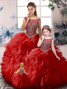 Red Organza Zipper Off The Shoulder Sleeveless Floor Length Sweet 16 Dresses Beading and Ruffles