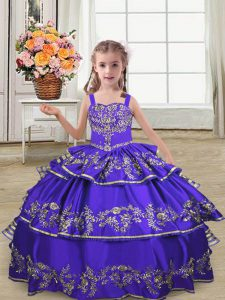 Popular Purple Sleeveless Floor Length Embroidery and Ruffled Layers Lace Up Pageant Gowns For Girls