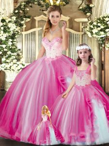 Tulle Sweetheart Sleeveless Lace Up Beading Quinceanera Gowns in Fuchsia