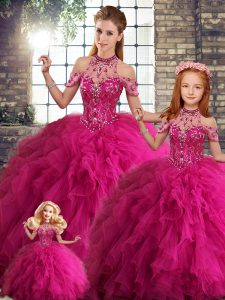 Fuchsia Sleeveless Tulle Lace Up Sweet 16 Dress for Military Ball and Sweet 16 and Quinceanera