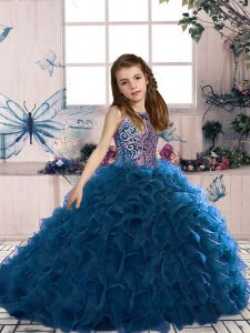 Customized Beading and Ruffles Little Girl Pageant Gowns Navy Blue Lace Up Sleeveless Floor Length
