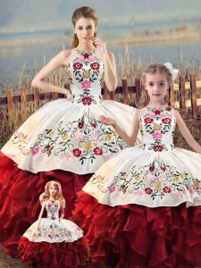 Low Price Floor Length White And Red 15th Birthday Dress Organza Sleeveless Embroidery and Ruffles