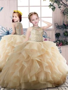 Perfect Champagne Sleeveless Floor Length Beading and Ruffles Zipper Kids Formal Wear