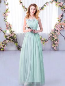Unique Light Blue Scoop Side Zipper Lace and Belt Dama Dress for Quinceanera Sleeveless