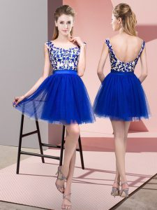Lovely Bateau Sleeveless Quinceanera Dama Dress Mini Length Lace Royal Blue Tulle